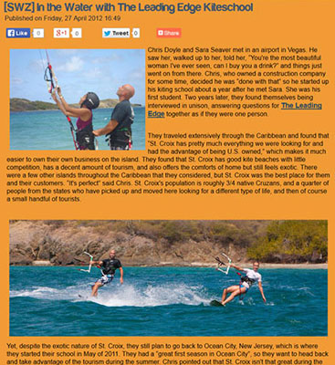 "Sidewayzine ""In The Water With The Leading Edge Kiteschool"""
